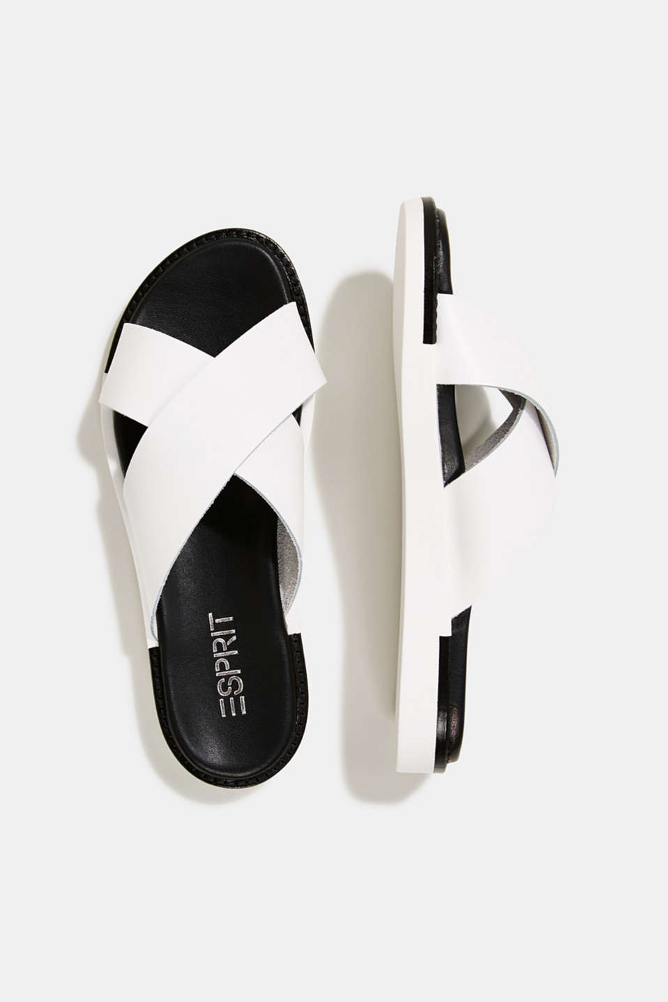 Leather slip-ons with wide straps, WHITE, detail image number 5