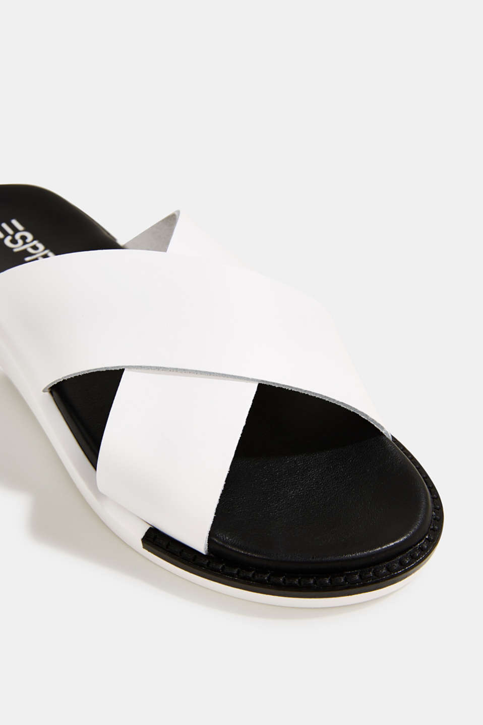 Leather slip-ons with wide straps, WHITE, detail image number 4