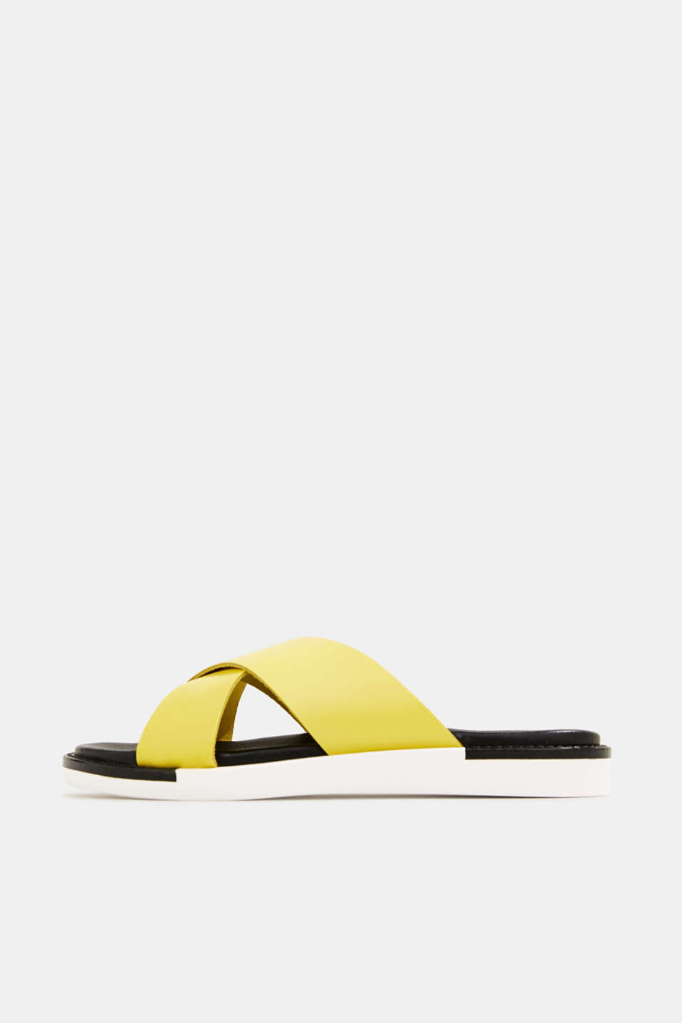 Leather slip-ons with wide straps, BRIGHT YELLOW, detail image number 0
