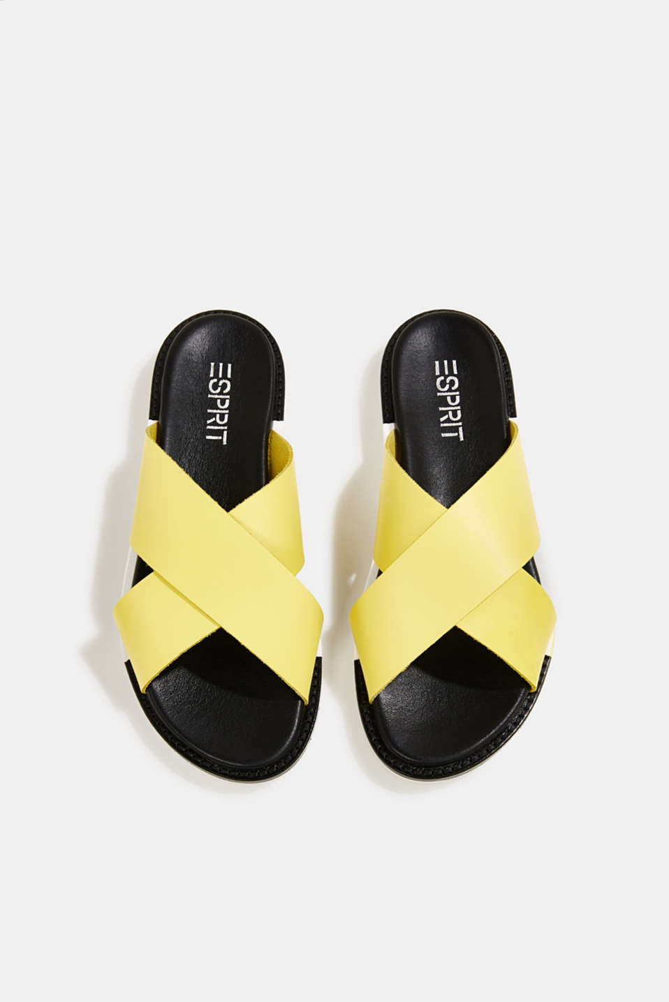 Leather slip-ons with wide straps, BRIGHT YELLOW, detail image number 1