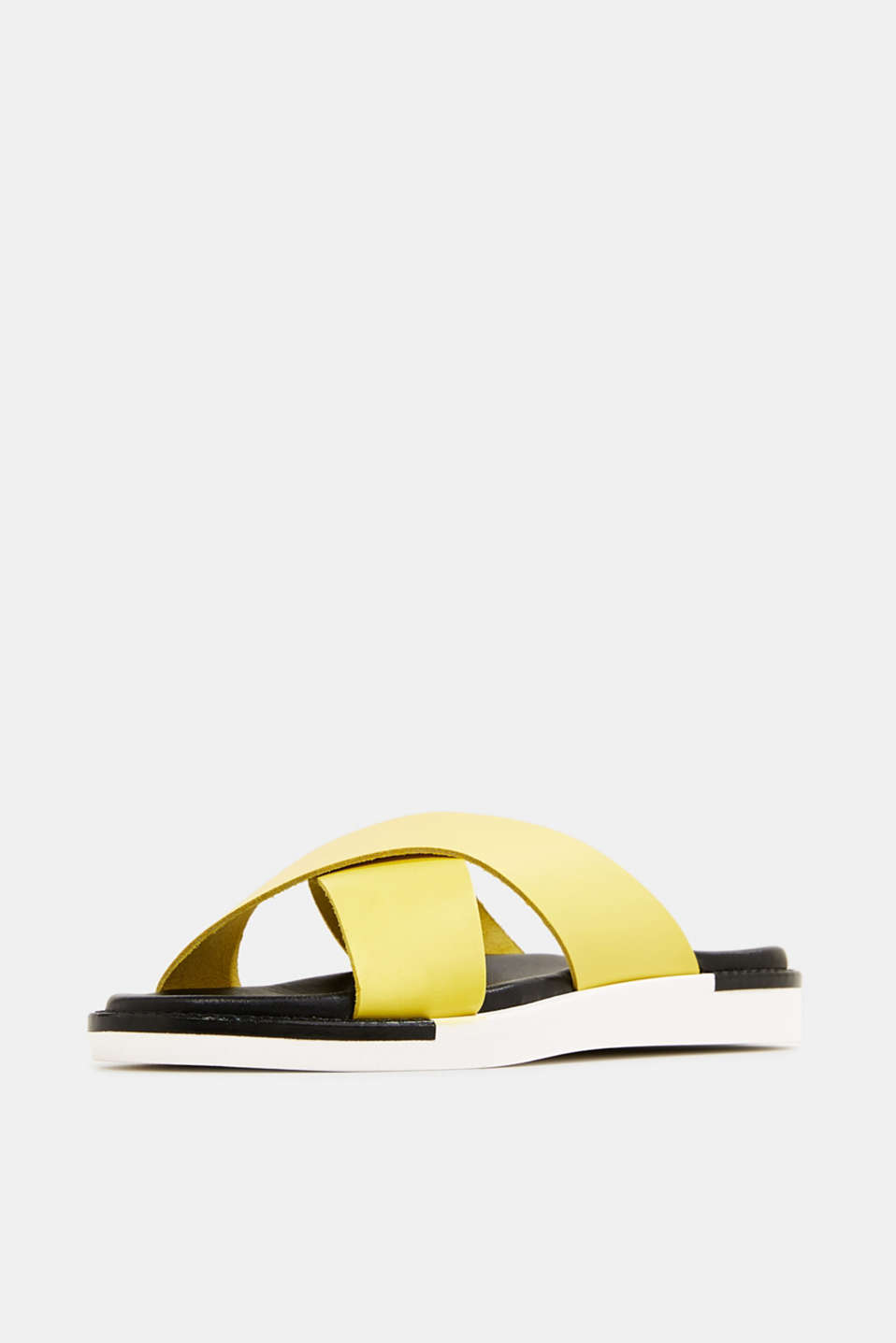 Leather slip-ons with wide straps, BRIGHT YELLOW, detail image number 2