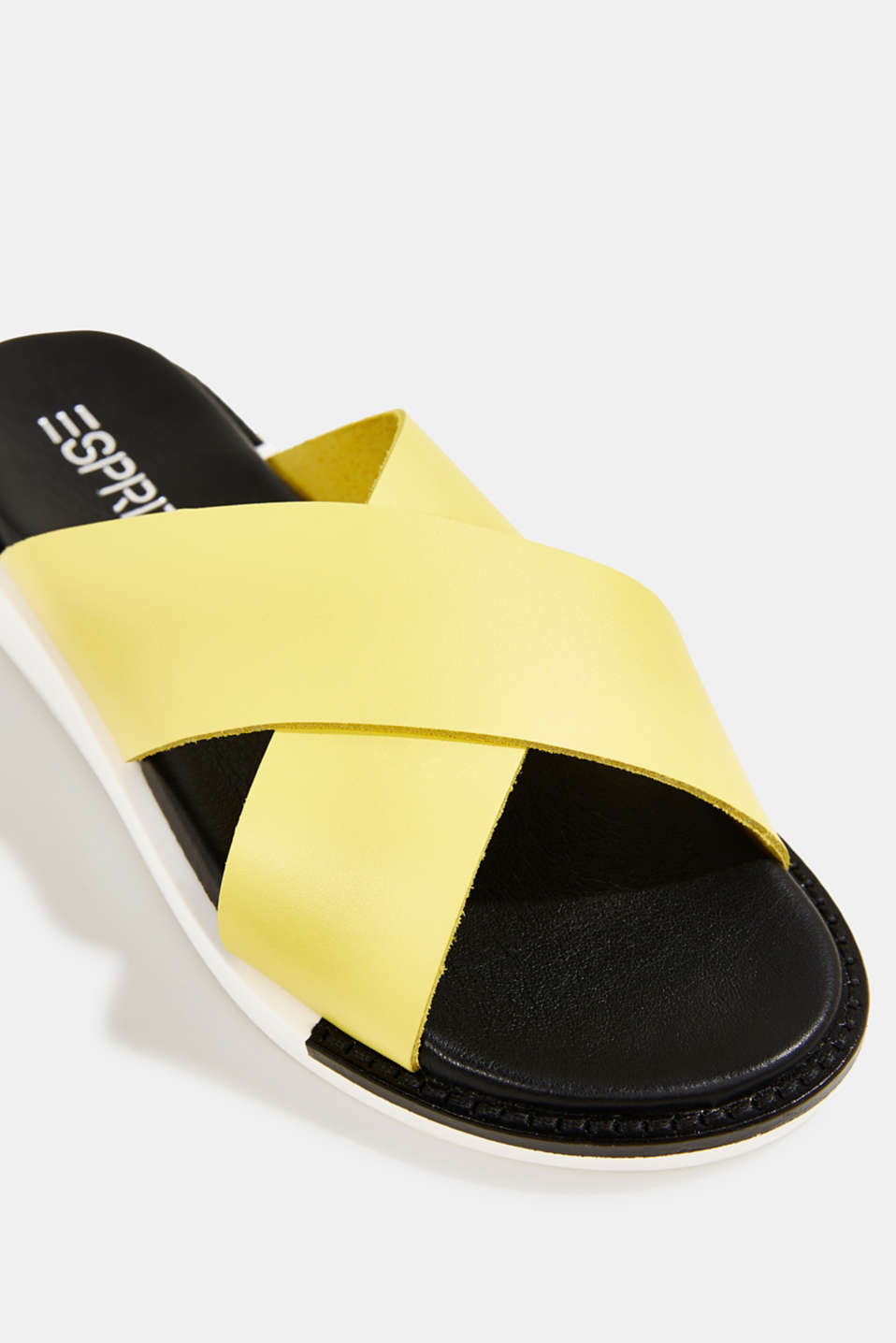 Leather slip-ons with wide straps, BRIGHT YELLOW, detail image number 4