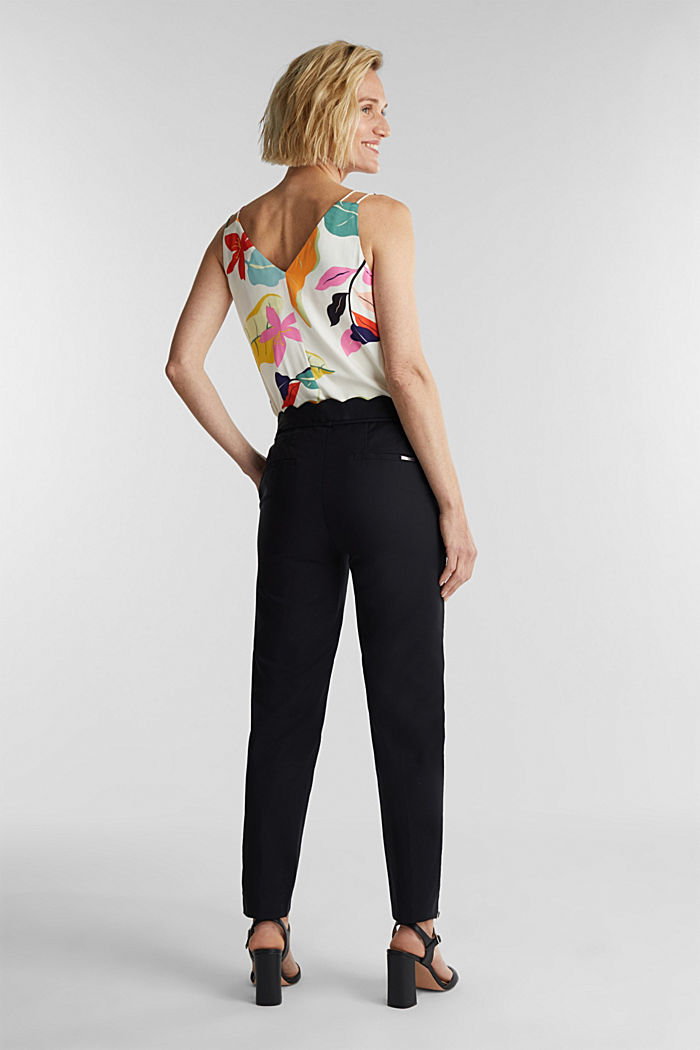 Ankle-length trousers with a scalloped waistband, BLACK, detail image number 3