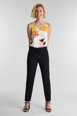 Ankle-length trousers with a scalloped waistband, BLACK, detail