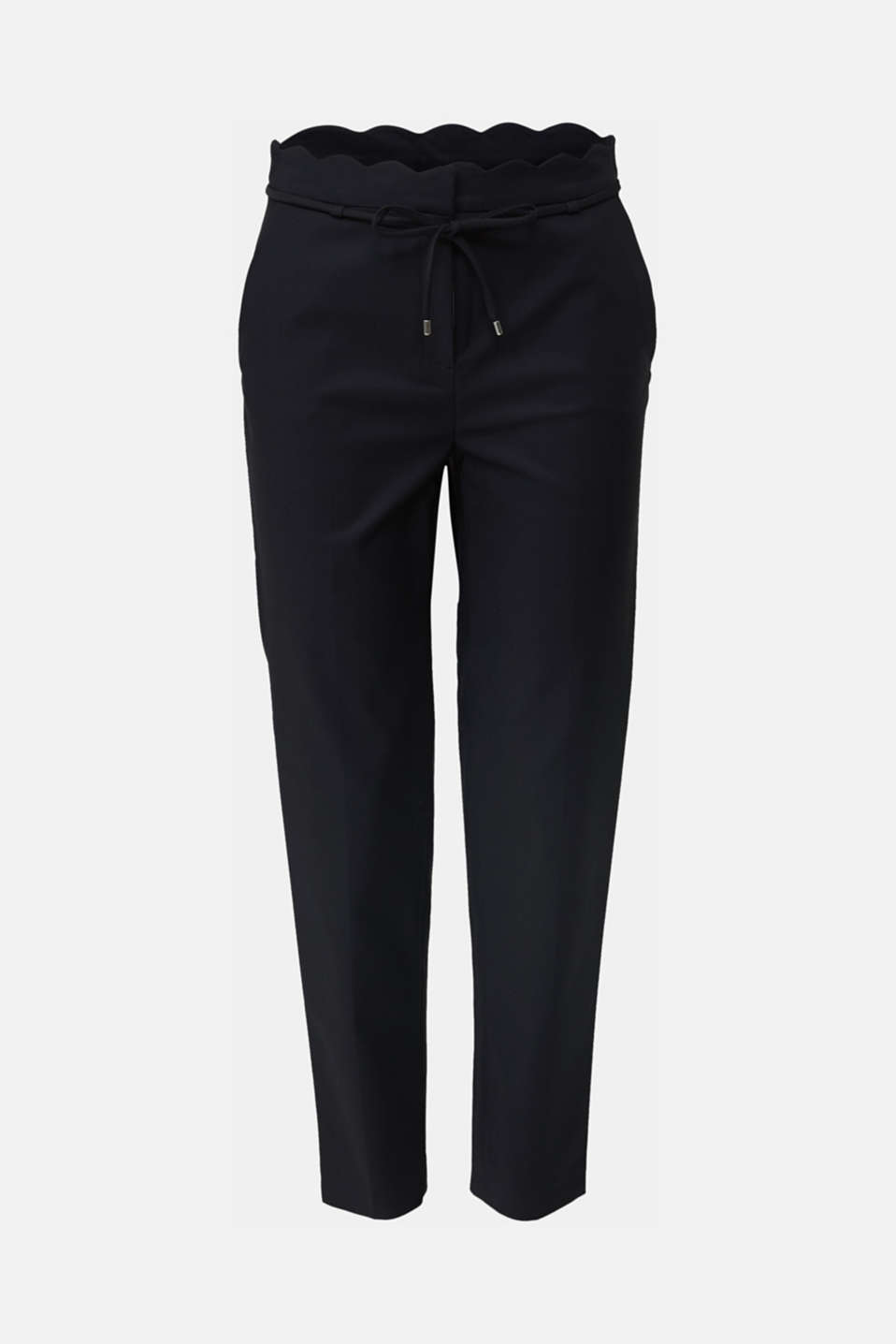 Ankle-length trousers with a scalloped waistband, BLACK, detail image number 6