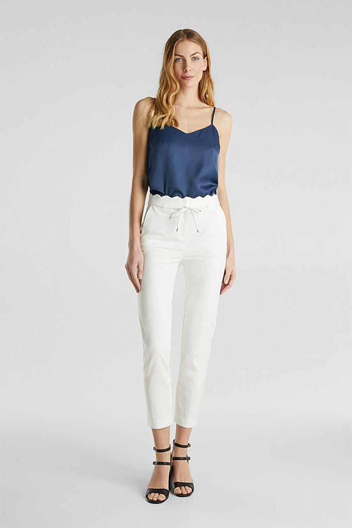 Ankle-length trousers with a scalloped waistband, OFF WHITE, detail image number 0