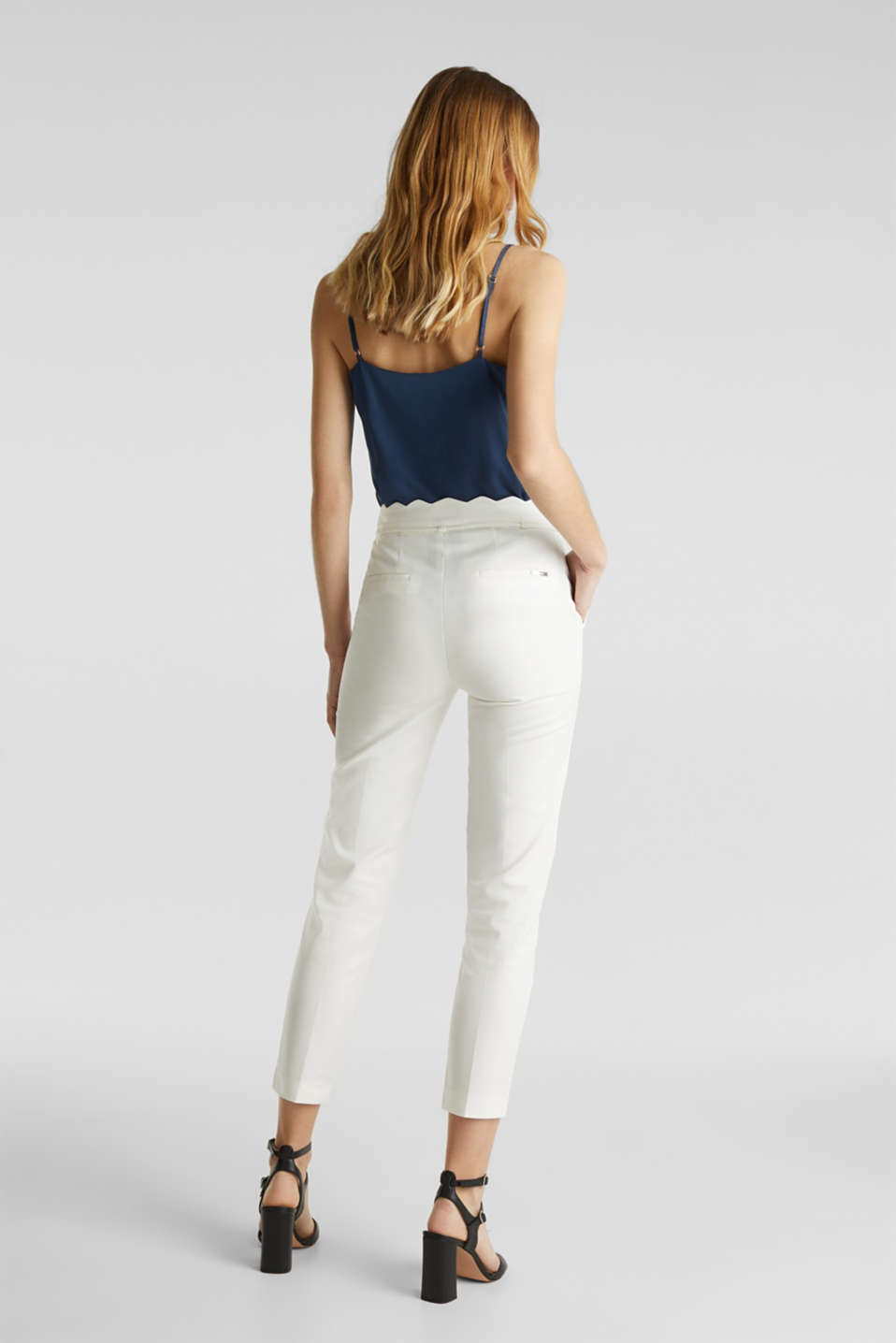 Ankle-length trousers with a scalloped waistband, OFF WHITE, detail image number 3