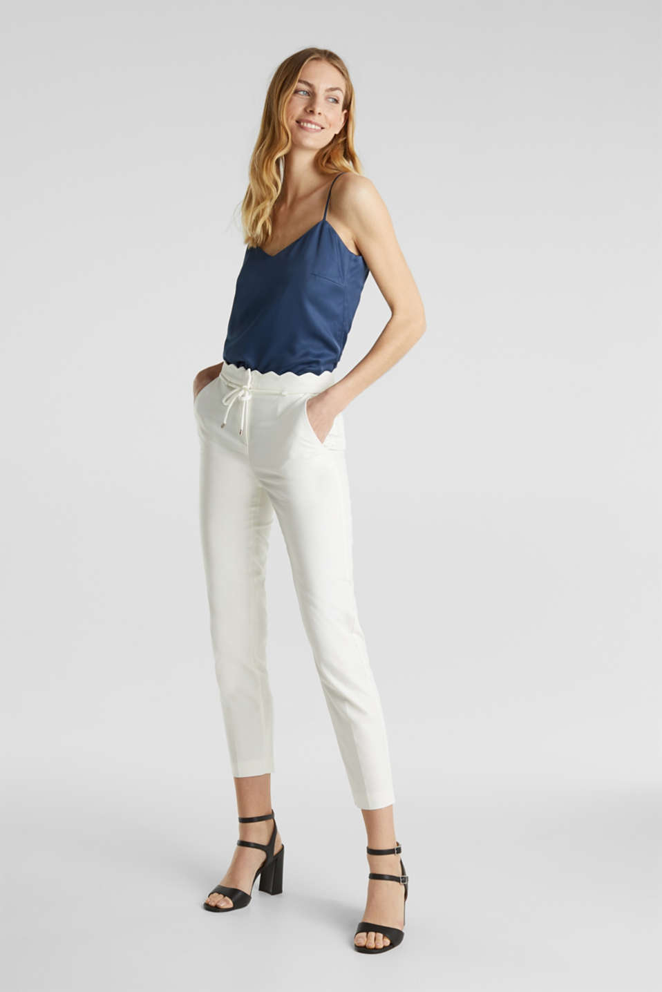 Ankle-length trousers with a scalloped waistband, OFF WHITE, detail image number 5