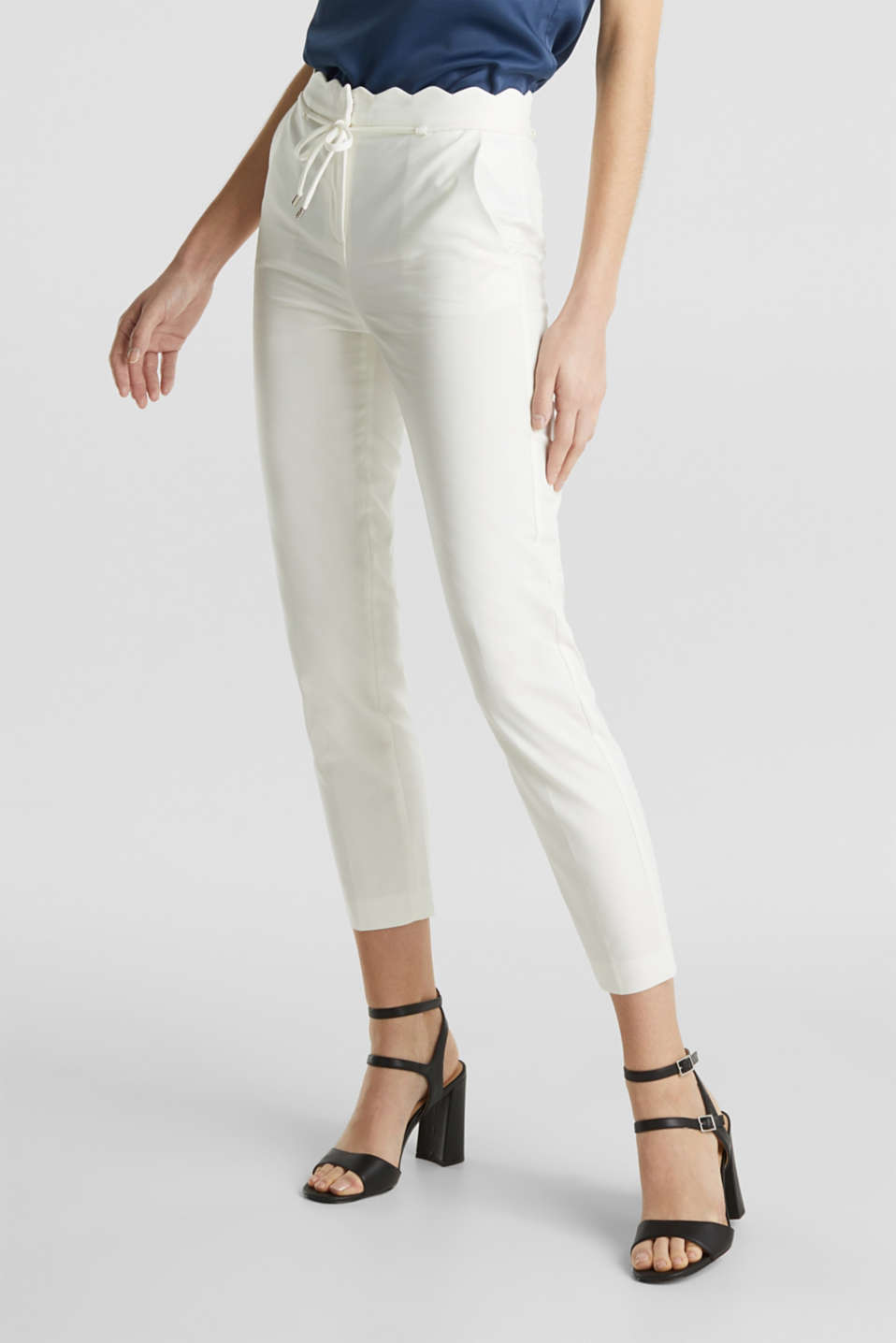 Ankle-length trousers with a scalloped waistband, OFF WHITE, detail image number 7