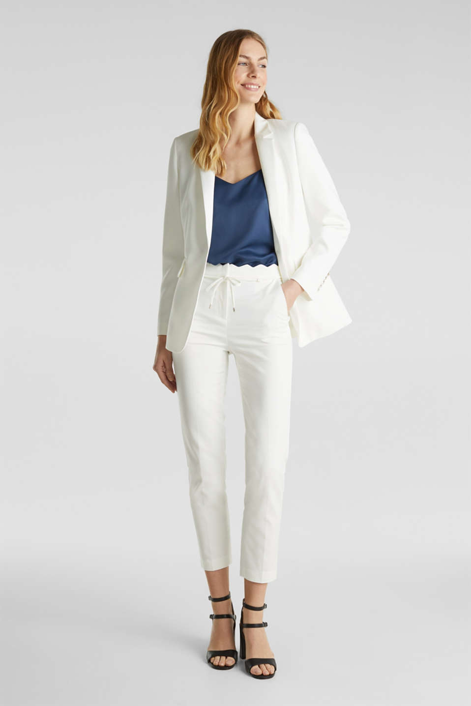 Ankle-length trousers with a scalloped waistband, OFF WHITE, detail image number 1
