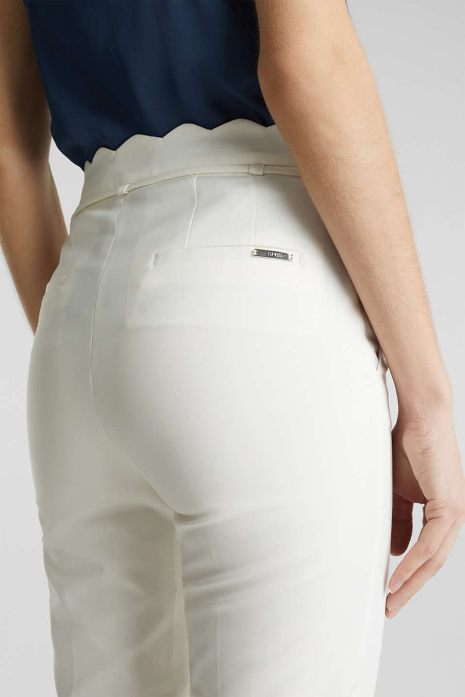 Ankle-length trousers with a scalloped waistband, OFF WHITE, detail image number 6