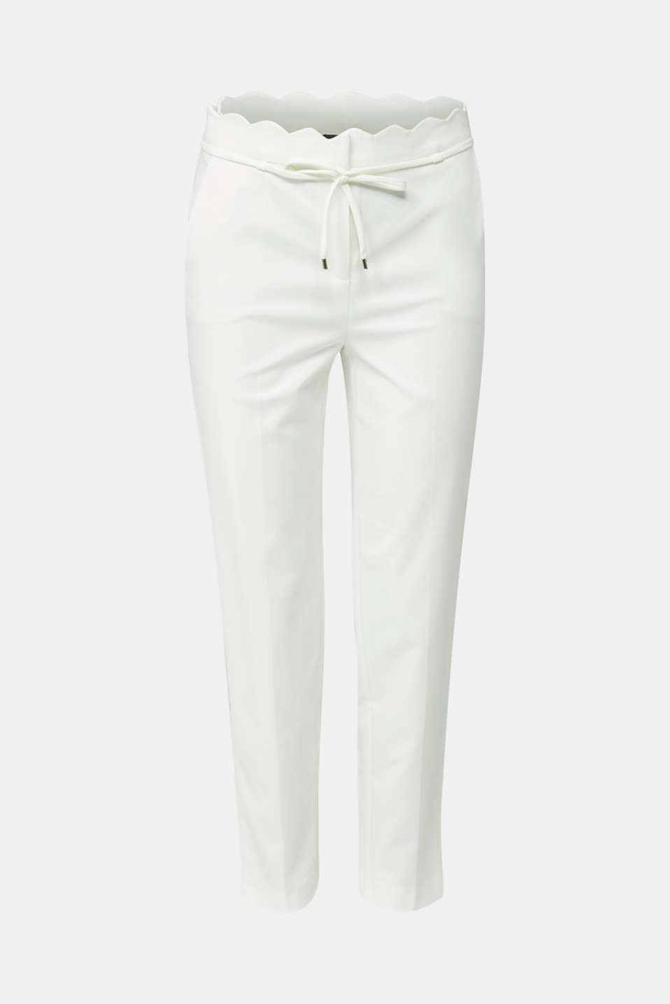 Ankle-length trousers with a scalloped waistband, OFF WHITE, detail image number 8