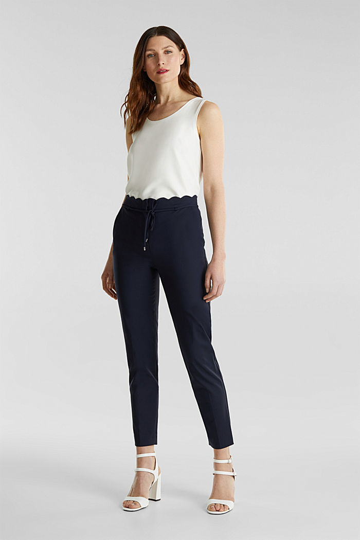 Ankle-length trousers with a scalloped waistband, NAVY, detail image number 0