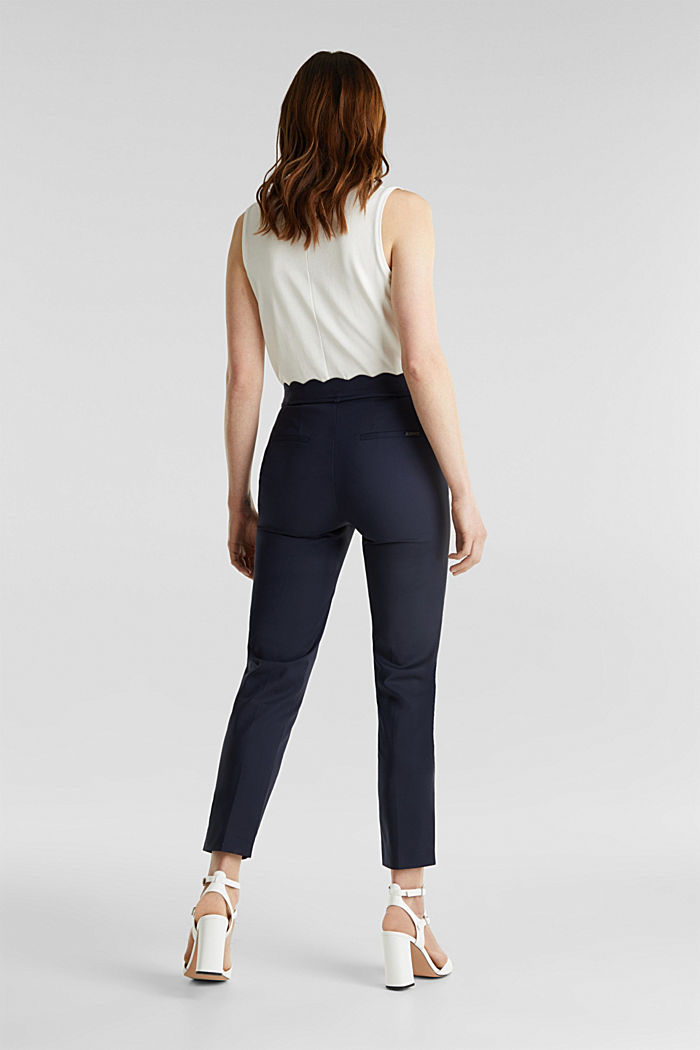 Ankle-length trousers with a scalloped waistband, NAVY, detail image number 3