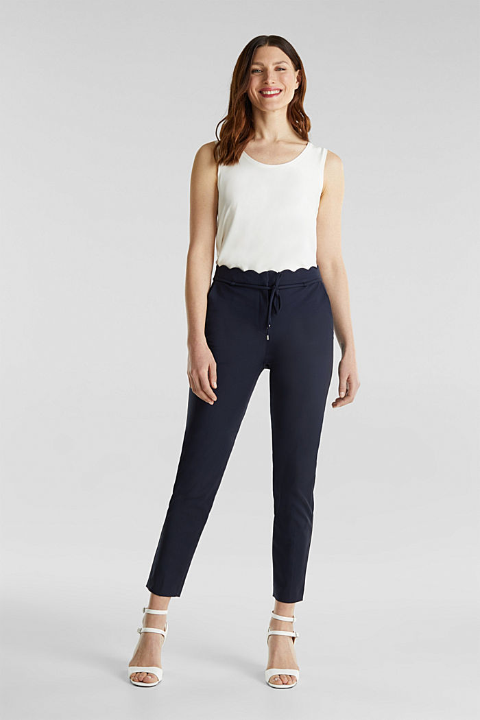 Ankle-length trousers with a scalloped waistband, NAVY, detail image number 1