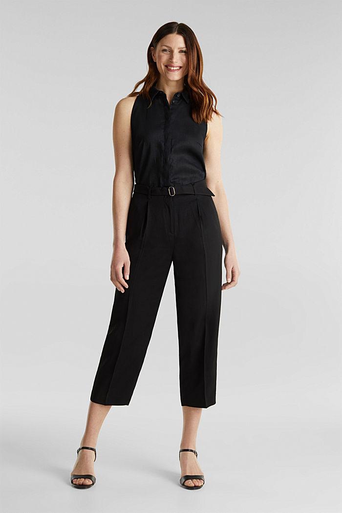 Culottes with a belt, BLACK, detail image number 0