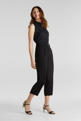 Culottes with a belt, BLACK, detail