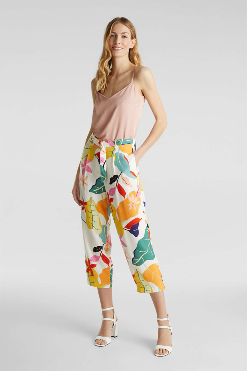Ankle-length crêpe trousers with a print, OFF WHITE 4, detail image number 0