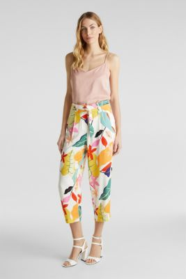 Ankle-length crêpe trousers with a print, OFF WHITE 4, detail