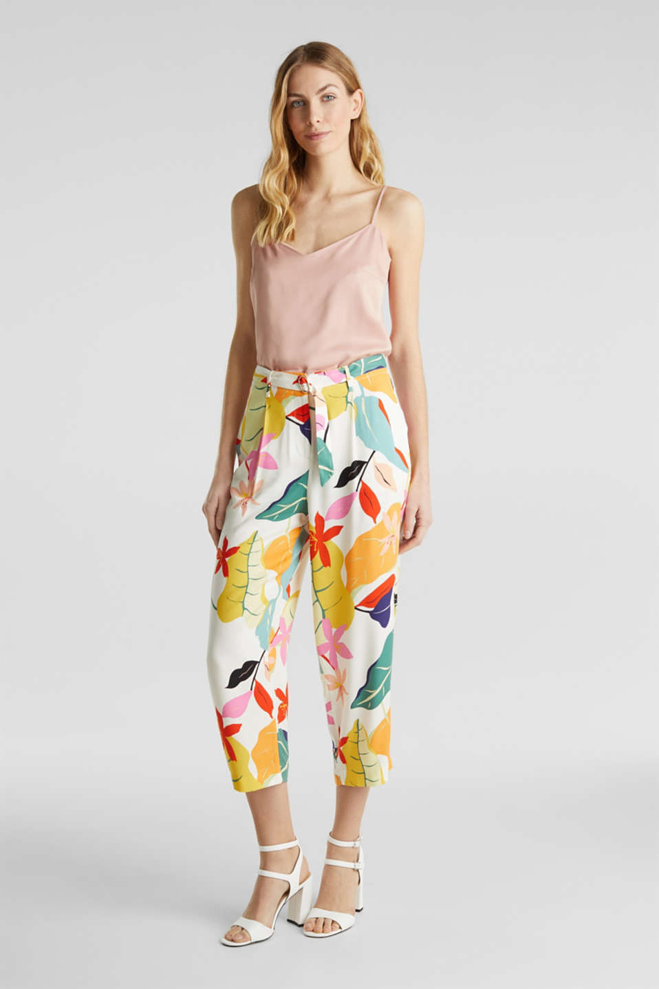 Ankle-length crêpe trousers with a print, OFF WHITE 4, detail image number 1