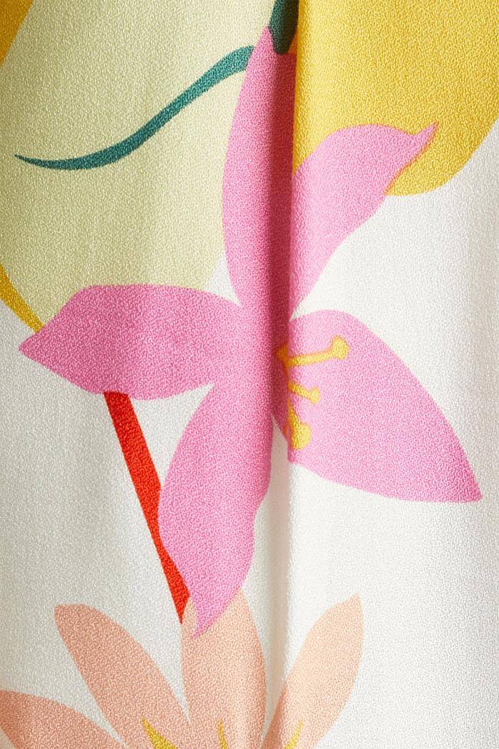 Enkellange crêpe broek met print, OFF WHITE, detail image number 4