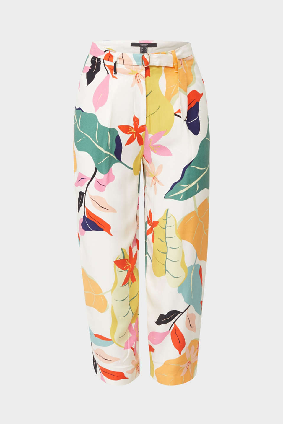 Ankle-length crêpe trousers with a print, OFF WHITE 4, detail image number 6
