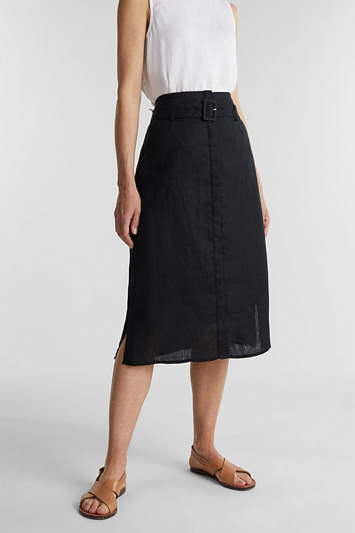 Made of linen: Skirt with a button placket, BLACK, detail image number 0