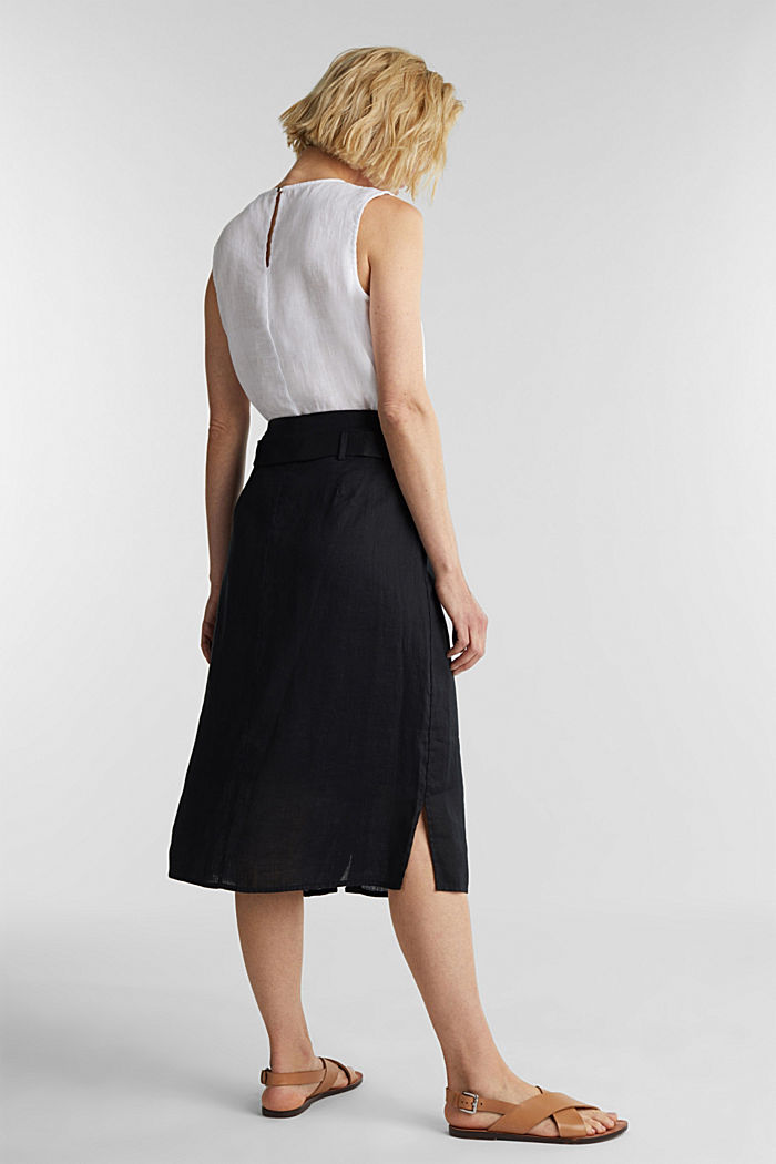 Made of linen: Skirt with a button placket, BLACK, detail image number 3