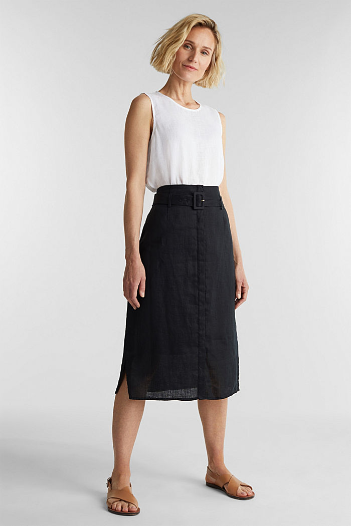 Made of linen: Skirt with a button placket, BLACK, detail image number 1