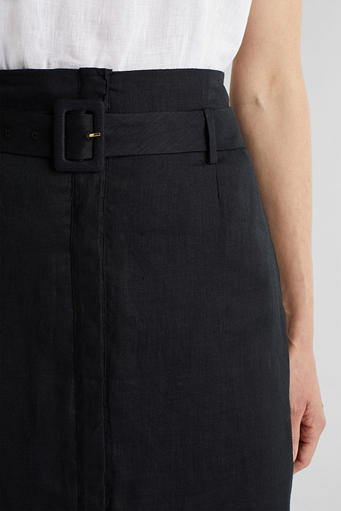 Made of linen: Skirt with a button placket, BLACK, detail image number 2