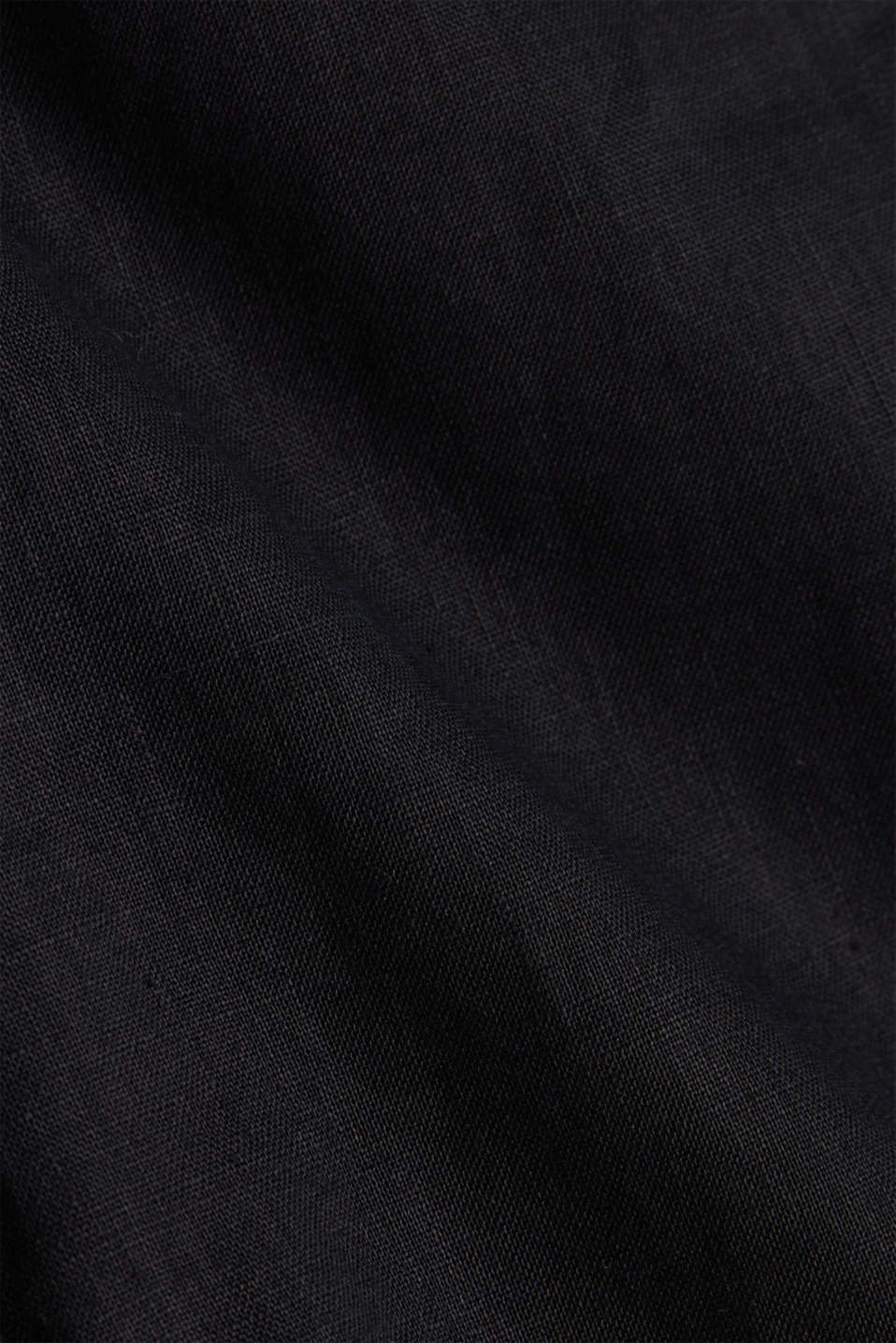 Made of linen: Skirt with a button placket, BLACK, detail image number 4