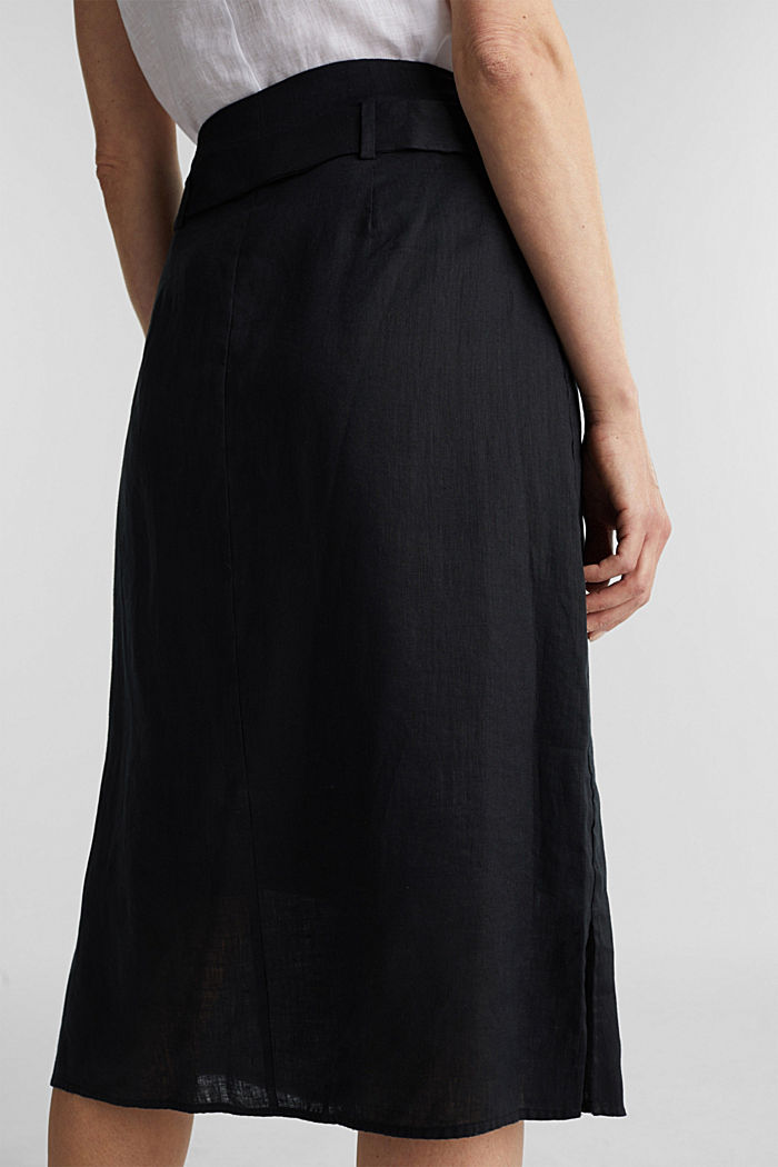 Made of linen: Skirt with a button placket, BLACK, detail image number 5