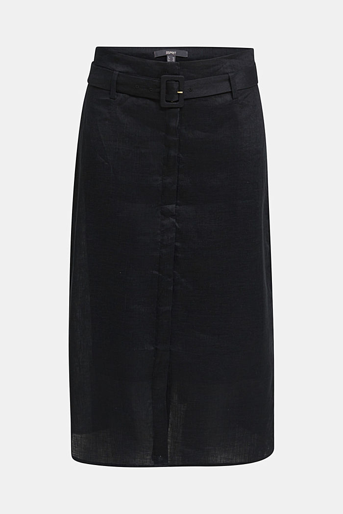 Made of linen: Skirt with a button placket, BLACK, detail image number 6