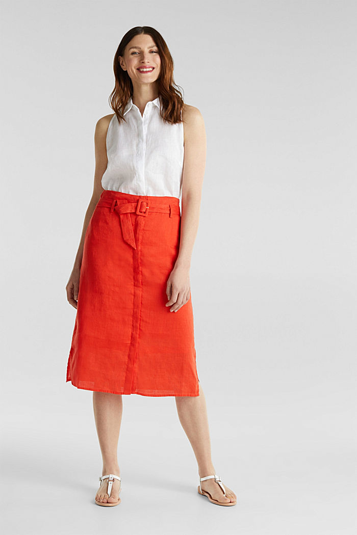 Made of linen: Skirt with a button placket, RED ORANGE, detail image number 0