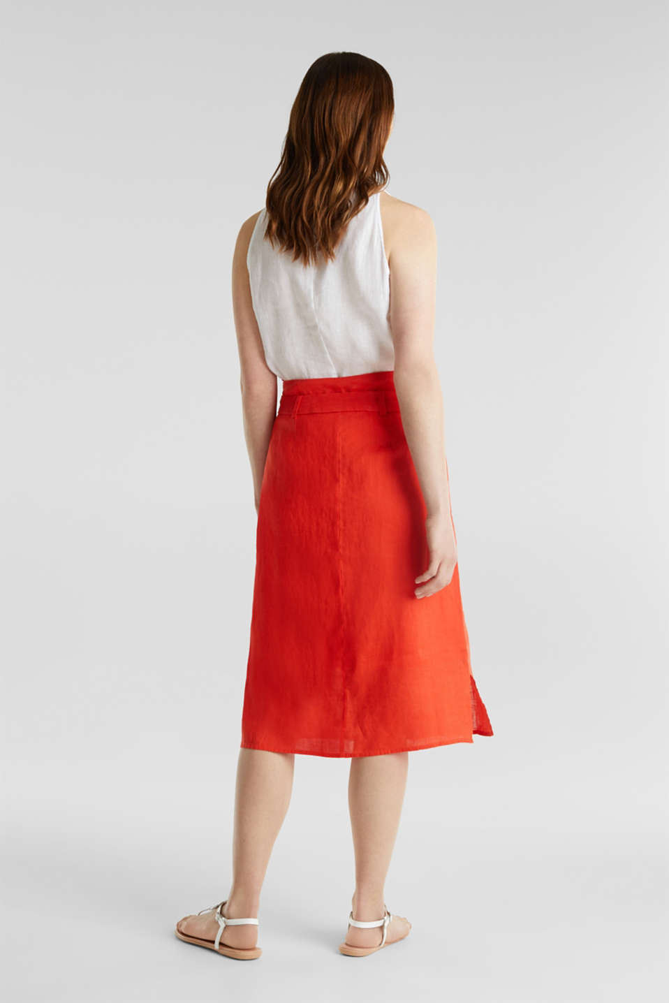 Made of linen: Skirt with a button placket, RED ORANGE, detail image number 3