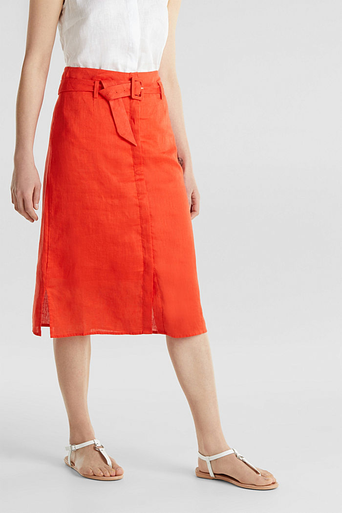 Made of linen: Skirt with a button placket, RED ORANGE, detail image number 6