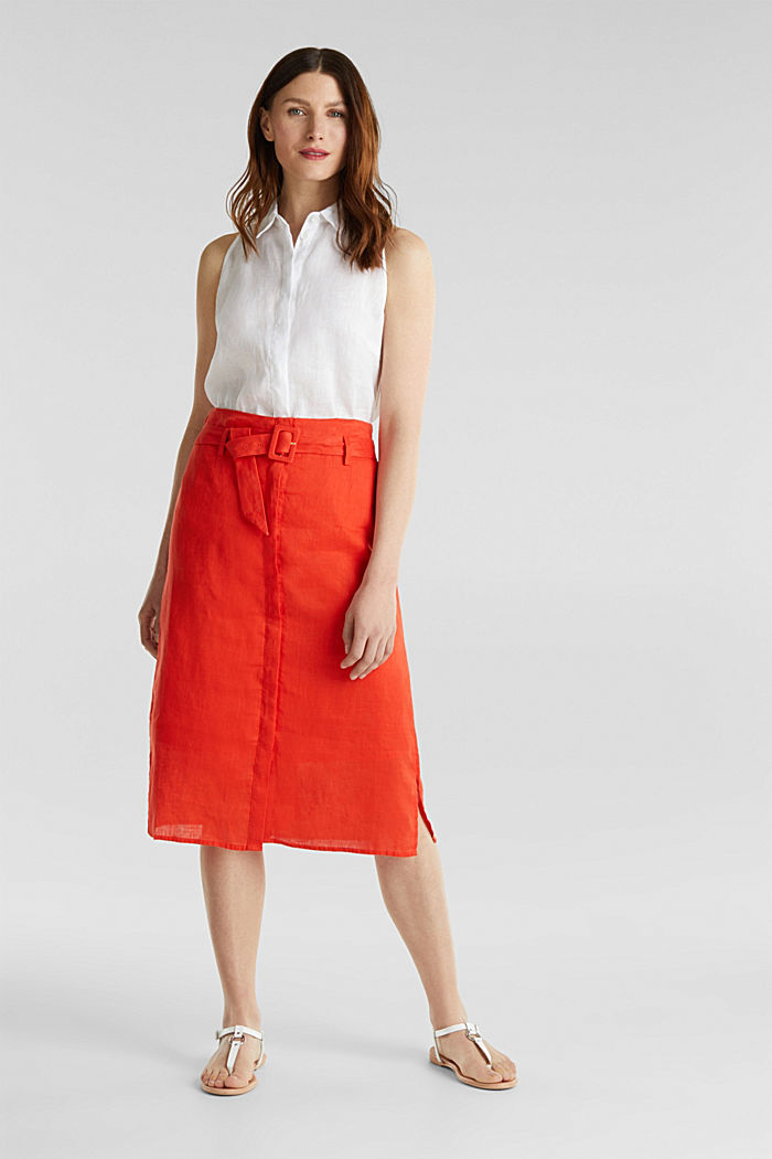 Made of linen: Skirt with a button placket, RED ORANGE, detail image number 1