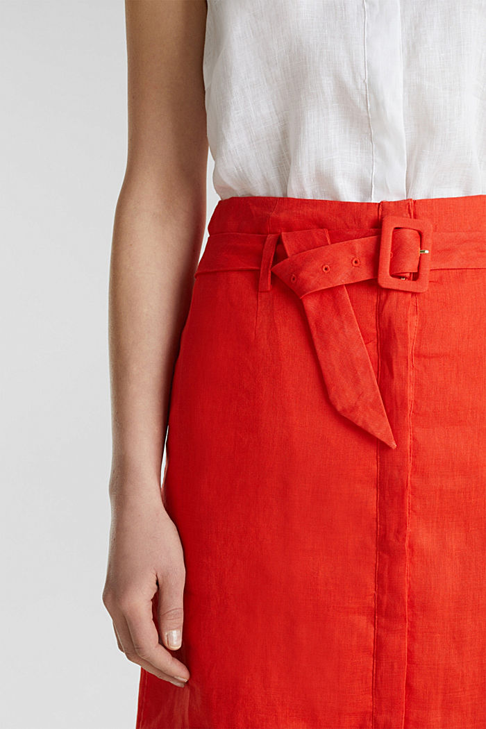 Made of linen: Skirt with a button placket, RED ORANGE, detail image number 2