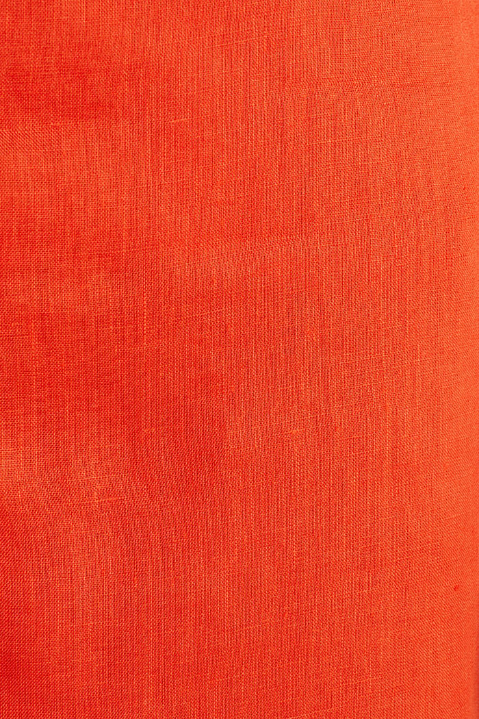 Aus Leinen: Rock mit Knopfleiste, RED ORANGE, detail image number 4
