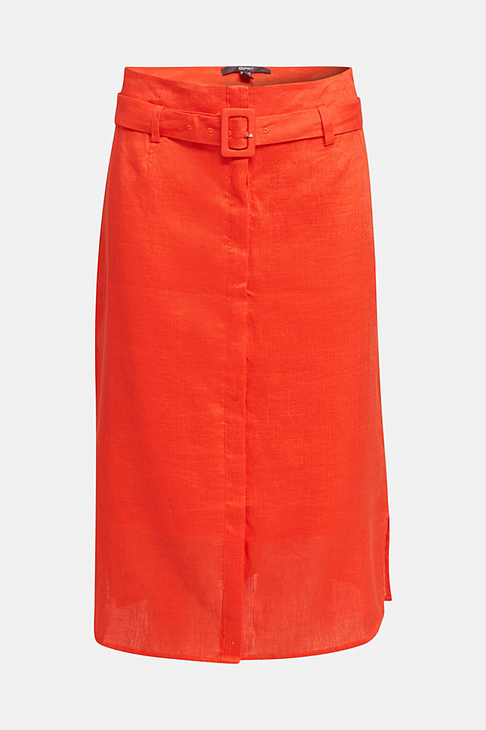 Made of linen: Skirt with a button placket, RED ORANGE, detail image number 7