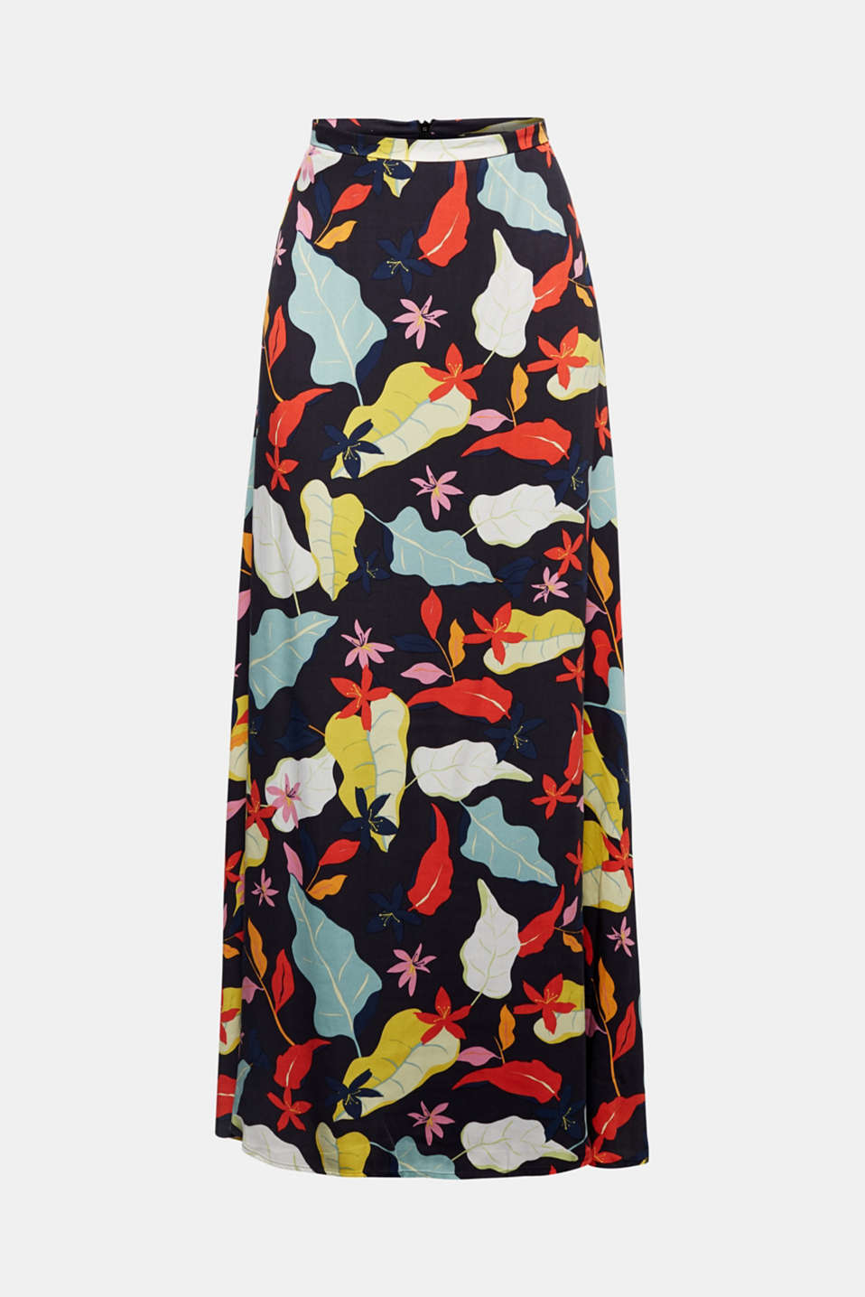 Made of LENZING™ ECOVERO™ Maxi skirt with a print, BLACK 3, detail image number 6