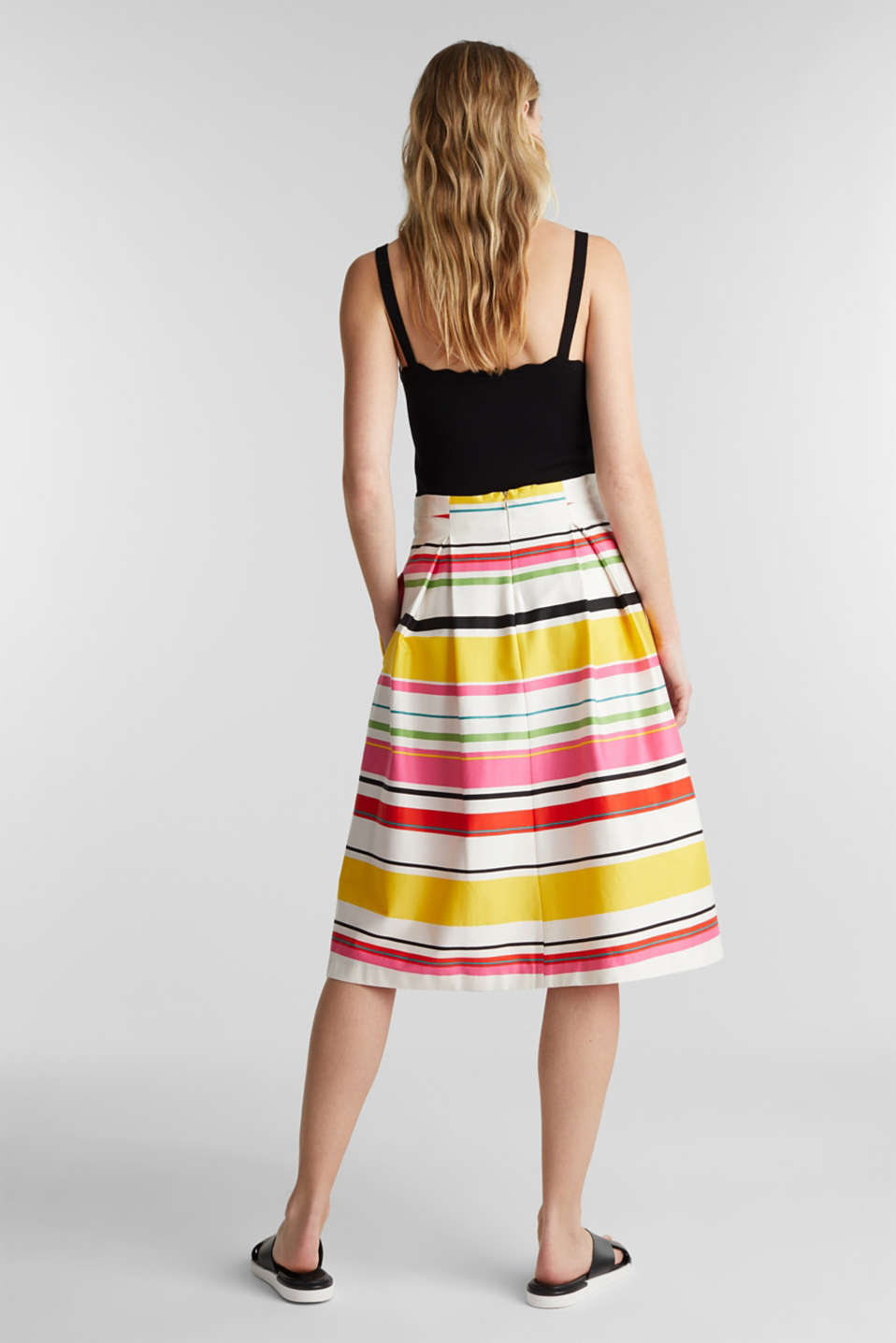 Striped skirt made of stretchy satin, WHITE 3, detail image number 3
