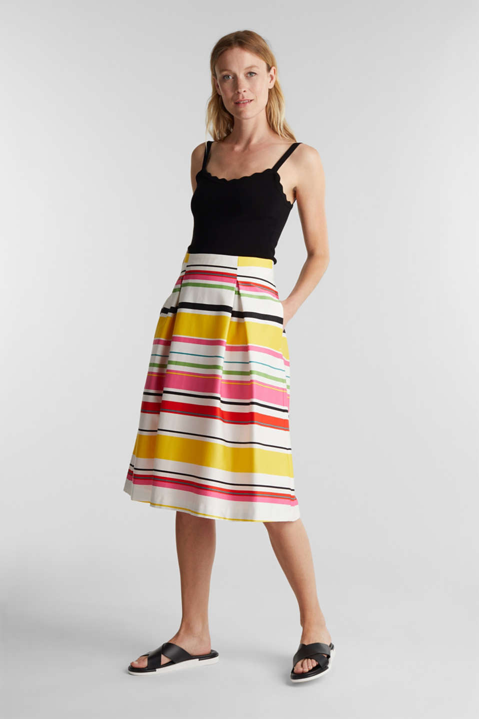 Striped skirt made of stretchy satin, WHITE 3, detail image number 1