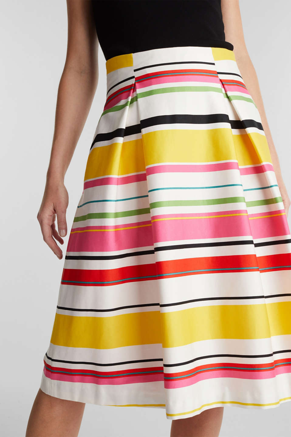Striped skirt made of stretchy satin, WHITE 3, detail image number 2