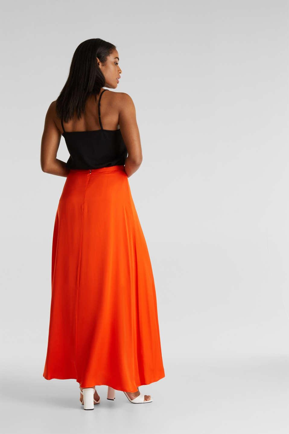 Maxi skirt made of viscose satin, RED ORANGE, detail image number 3