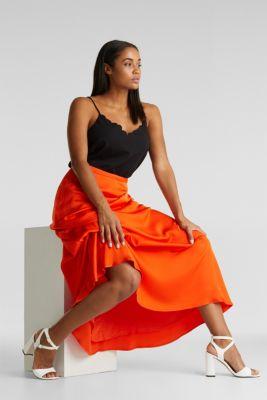 Maxi skirt made of viscose satin, RED ORANGE, detail