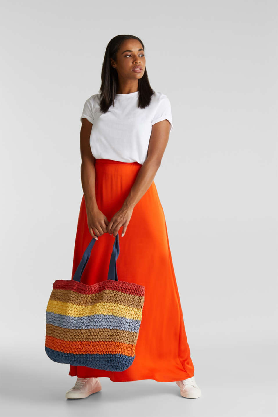 Maxi skirt made of viscose satin, RED ORANGE, detail image number 5