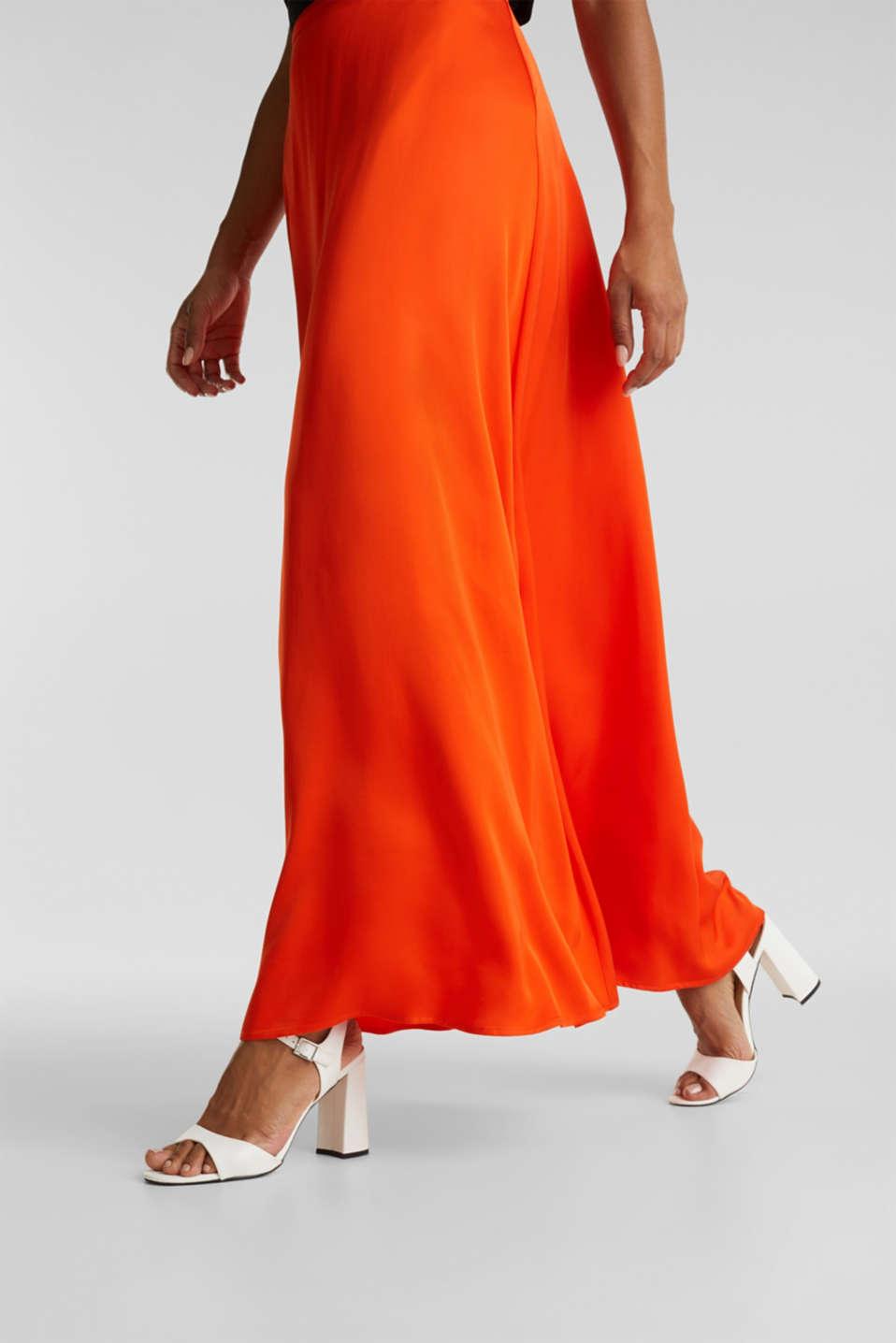 Maxi skirt made of viscose satin, RED ORANGE, detail image number 2