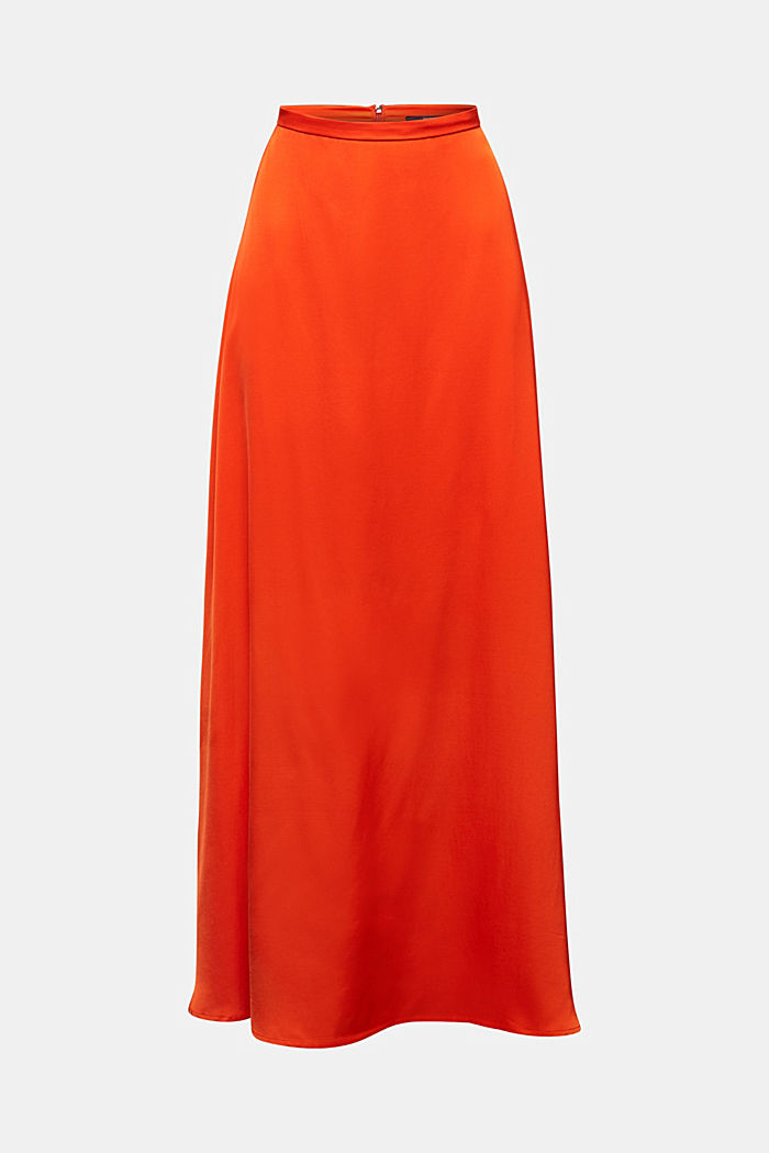 Maxi skirt made of viscose satin, RED ORANGE, overview