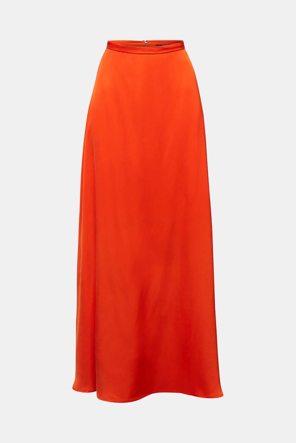 Maxi skirt made of viscose satin, RED ORANGE, detail image number 6